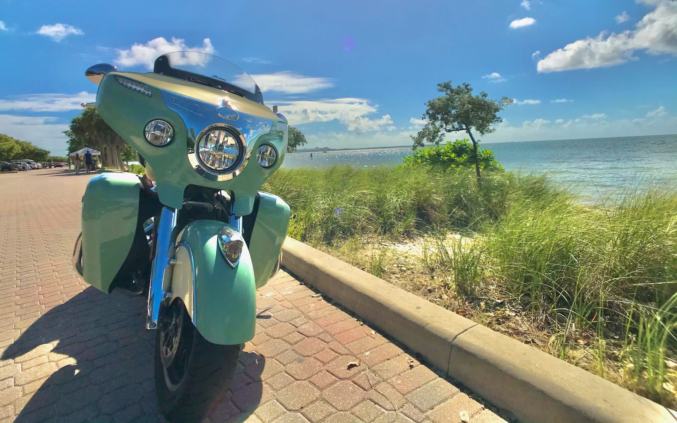Indian Roadmaster Green Front With Miami Sky